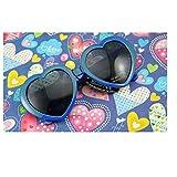 華揚 ファッション かわいい 特大ハート型 プラスチックフレーム レトロサングラスメガネ(ブルー)
