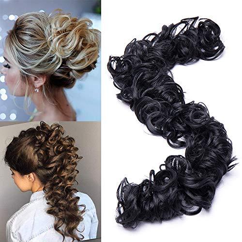 TESS Haarteil Haargummi Dutt Schwarz Ponytail Extension DIY Haarverlängerung Synthetik Haare für Haarknoten Zopf Pferdeschwanz Hair Extensions 32