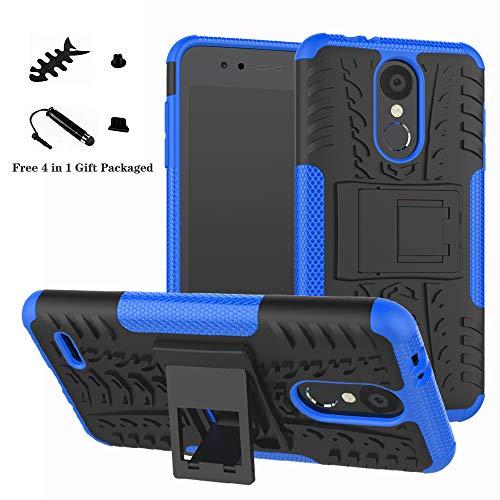 LiuShan LG K8 / K9 2018 Custodia, Protettiva Shockproof Rigida Dual Layer Resistente agli Urti con cavalletto Caso per LG K8 / LG K9 2018 Smartphone (con 4in1 Regalo impacchettato),Blu