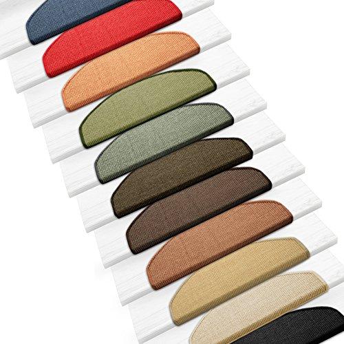 Sisal Stufenmatten im 15er Set | 100 % Naturfaser in 2 Größen | sicherer Halt auf Ihrer Treppe | halbrund 65x24 cm mit Lippe - tabak
