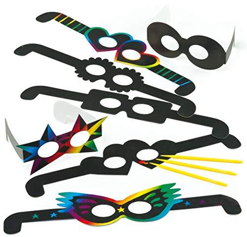 Baker Ross ET606 Kratzbild-Brillen-Scratch Art für Kinder zum Basteln ideal zum Fasching und Karneval (12 Stück), Schwarz