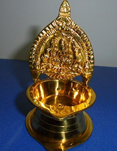 La India Artcollectibles 10,16 cm Diwali latón Kamakshi lámpara de aceite (latón Diya diosa hindú Laxmi) para religiosos hindúes Puja/Pooja Navratras/aarti