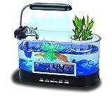 QTMY Mini acuarios de escritorio, acuarios, pecera, con luz LED, soporte para bolígrafo, despertador y decoración de oficina