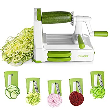 Spiralizer Vegetable Slicer, 5 Blades Zoodle Maker with Strong Hold Suction, Veggie Spiralizers Zucchini Spiral Noodle Spaghetti Maker for Low Carb / Gluten-Free Meals
