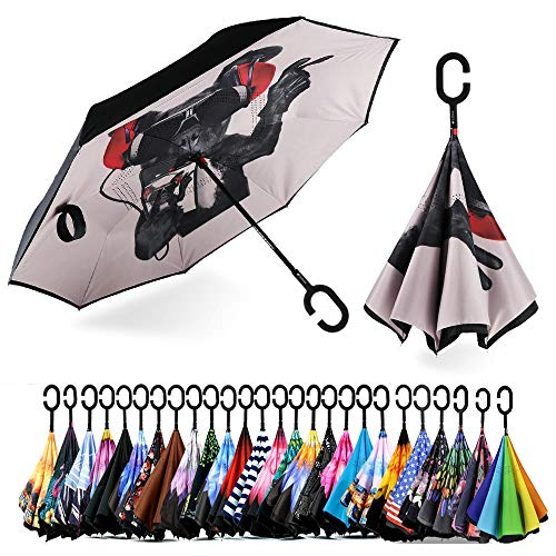 Spar. Saa Double Layer Inverted Umbrella with C-Shaped Handle, Anti-UV Waterproof Windproof Straight Umbrella for Car Rain Outdoor Use (Cool Dog)
