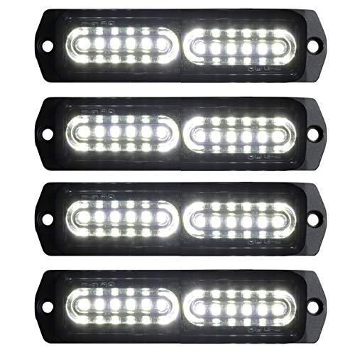ASPL 4pcs Sync Feature 12-LED Surface Mount Flashing Strobe Lights for Truck Car Vehicle LED Mini Grille Light Head Emergency Beacon Hazard Warning lights (White)