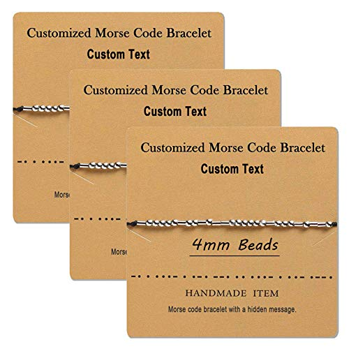 Yonhi Customize Personalized Morse Code Bracelet Adjustable Handmade Rope Friendship Bracelet Inspirational Jewelry Gift for Best Friend, Women Men Friendship Gifts (Customize 3pcs)