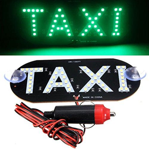 STARE89 1pièce Taxi lumière DC 12 V LED Auto Véhicules Pare-Brise de Voiture Taxi Cab Toit Signe Light, Green, 14cm*7cm