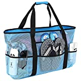 Beach Bag, Extra Large Beach Bags for Women Waterproof Sandproof, Mesh Beach Tote Bags Pool Bag Beach Essentials