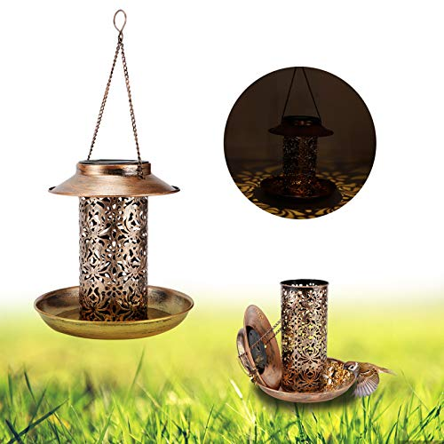 banapoy Alimentador de pájaros Colgante Salvaje, alimentador de pájaros Colgante Alimentador de pájaros LED Alimentador de pájaros Solar Lámpara de Patio Luz de Patio con energía Solar con luz para