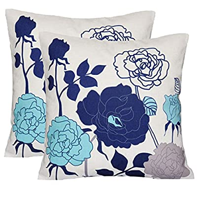 sykting Cotton Linen Throw Pillow Covers for Couch Set of 2 Sofa Pillowcase 18 x 18 Birds & Flowers Series