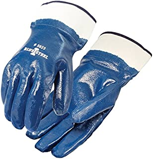 Galeton 5923-L 5923 Blue Steel Nitrile Coated Gloves, Smooth Finish, Safety Cuff, Large (Pack of 12)