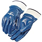 Heavy duty nitrile coating provides superior wear and protection when handling abrasive material Safety cuff provides protection for your wrist and easy on and off for convenience and safety Full jersey liner absorbs moisture for comfort Nitrile form...