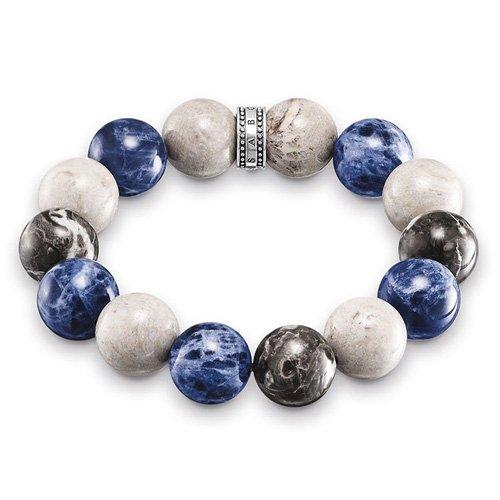 Thomas Sabo Herren-Armband Power Bracelet Blau, Beige, Grauf Rebel at Heart 925 Sterling Silber mehrfarbig 16 cm A1580-362-7-L16