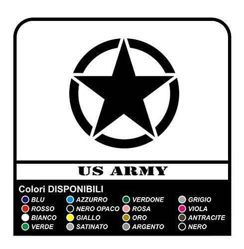 GRAFIC Autocollant ÉTOILES US Army cm 10x10 étoiles Militaire 4x4 SUV (Noir)