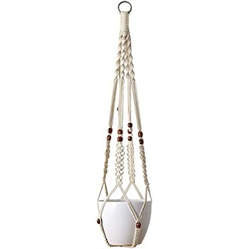 Mkono Macrame Plant Hanger Indoor Outdoor Hanging Planter Basket Cotton Rope 4 Legs 41 Inch Gray