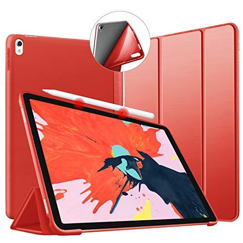 VAGHVEO Funda para iPad Pro 11' 2018, Ultra Delgada Smart Carcasa con Auto-Sueño/Estela Función, Flexible de Goma Suave Cover Soporta Cargar iPad Pencil para Apple iPad Pro 11 Pulgadas Tableta, Rojo