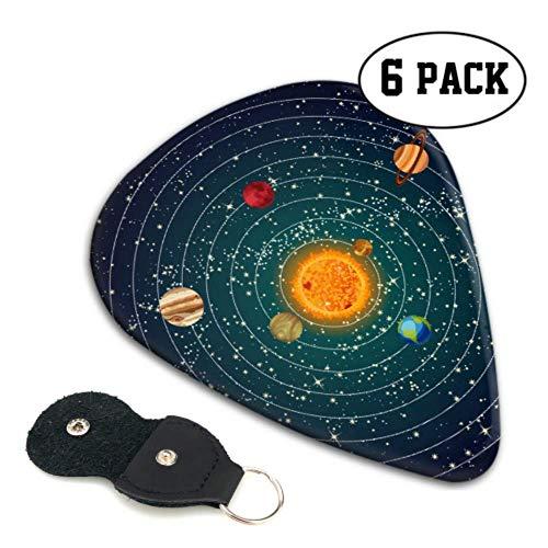 Amazing Solar System Space Bass púas para guitarra, variedad de púas de guitarra clásicas, regalo pesado para bajo, eléctrico, guitarras acústicas, paquete de 6, 0,71 mm