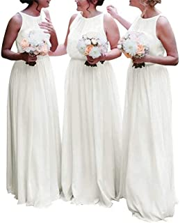 95ad11829da HellodayZ Women s Modest Chiffon Bridesmaid Dresses Long Boho Wedding Party  Dresses Maid of Honor Gowns