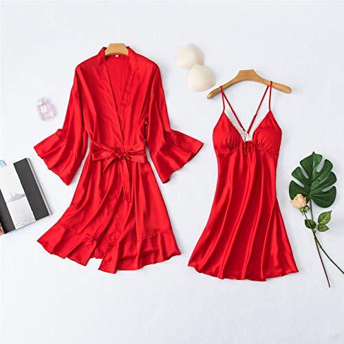 YUHOOE Damen Pyjama,2Stück Set Frauen Sexy Kunstseide Nachthemd Set Pyjama Set Satin Sling Sommer Robe & Kleid Set Nachtwäsche Homewear Loungewear