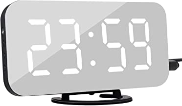 Clock Digital Clock with Large Easy-Read LED Display Diming Mode Easy Snooze Function Mirror Surface Dual USB Charger Ports