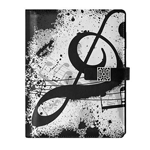Cuaderno de cuero para diario, cuaderno de viaje, notas de música negra, rellenable, tamaño A5, cuaderno de tapa dura, regalos para hombres y mujeres