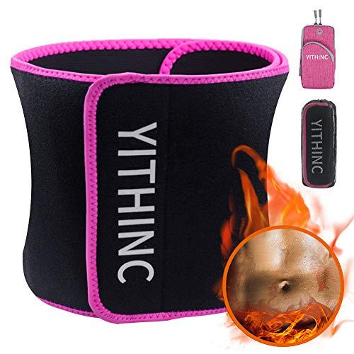 YITHINC Fitnessgürtel Bauchweggürtel,Fitness Gürtel Schwitzgürtel Abnehmen Verstellbarer Taillen Trimmer für Fettverbrennung Sauna Premium- mit Multifunktionsarmband für Männer und Frauen