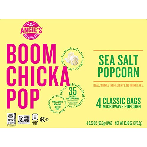 Angie's BOOMCHICKAPOP Sea Salt Microwave Popcorn, 3.29 oz. Classic Bags 4-Count (Pack of 6)