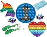 Nalyte Pop it Fidget Toys Pack, Fidjetoys Toy Anti Stress, Popit Jeux Pas Cher, Multicolore Popite Fijets Toys entistesses Objet satisfaisant, Poppit Bleu Figette Set Anti Stress, Cube antistress