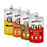 Keto Nut Butter, Variety Pack – Keto Snacks with MCT Oil, Fat Bomb Low Carb Snacks (2-3 Net Carbs), On-the-go Keto Food by Yumbutter, 3.4oz pouch, 4 pack