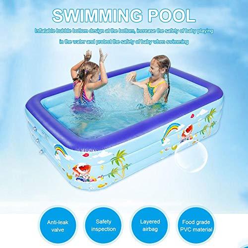 Opblaasbaar zwembad voor kinderen, ballenbak voor baby, peuterbad voor kinderen, peuter, zwembad Familiezwembad Opblaasbaar rechthoekig zomer voor tuin, buiten, binnen (180 × 140 × 50 cm)