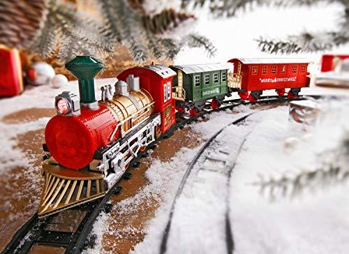 Unbekannt Weihnachtszug Licht u. Sound Eisenbahn 13-TLG. Komplettset Nostalgie Zug Schienen Deko