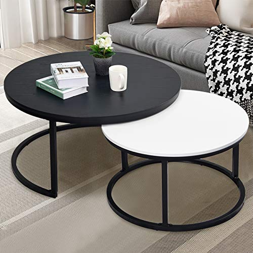 "charaHOME Round Coffee Table, Nesting Tables Set of 2, Large : Ø 33.9"", Small : Ø 26.0"", Modern Design Furniture Side End Table for Living Room, Metal Frame Sofa Table Cocktail Table, Black & White"