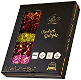 Turkish Delight Luxury Assorted, Gourmet Gluten Free Gift Box Fantastic Rose, Pomegranate and Strawberry Flavor Experience With Pistachio and Hazelnut - 20 Pcs - 17 oz
