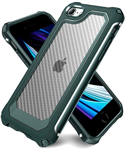 iPhone 6S Case, iPhone 6 Case with [ Screen Protector Tempered Glass x2Pack] SUPBEC Protective Phone Cover with Silicone PC+TPU Shockproof Rubber Heavy Duty Case for iPhone6 / iPhone6S-Clear Green