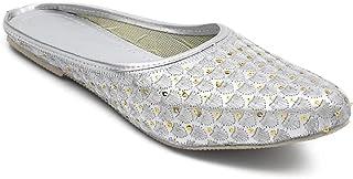 M. F. Collection Women's Soft Leather Bite and Pinch Free Flower Zari Women's Flat Jutti Ethnic Shoe