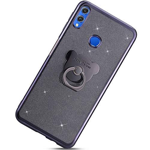 Funda Compatible con Huawei Honor 8X.KunyFond Carcasa Case Cute Bear Anillo Soporte Movil Chapado Brillo Purpurina Bling Brillante Clear Cover Gold Glitter TPU Gel Transparente Dura Bumper,Negro