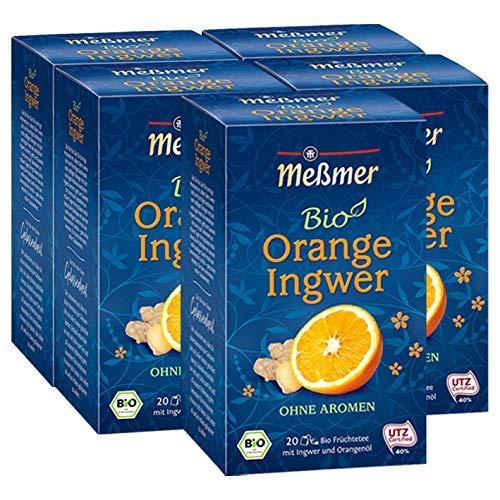 Meßmer Tee Bio Früchtetee Orange-Ingwer, 91 g, 5er Pack