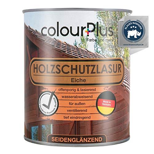 colourPlus® Barniz de alta protección (750ml, Roble) Barniz satinado para madera, exteriores - Base para madera - Pintura de madera para exterior - Fabricado en Alemania