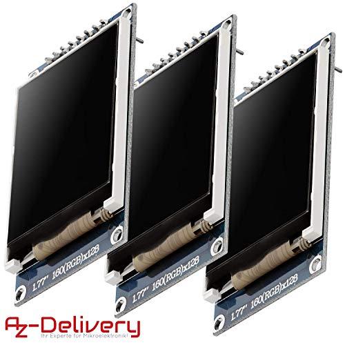 AZDelivery 3 x 1,77 Zoll TFT Display 128x160 Pixeln kompatibel mit Arduino inklusive E-Book!