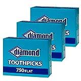 Diamond Flat Toothpicks 750ct, 3 Pack