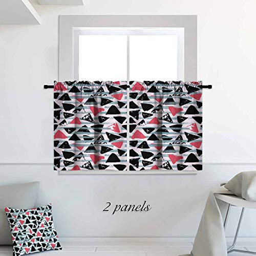 Geometric Kitchen Curtain Abstract Triangles with Striped Background Hipster Influenced Vintage 30 x 24 inch Pattern Short Bathroom Window Curtain