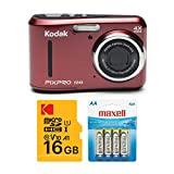 Kodak PIXPRO FZ43 Digital Camera (Red) with 16GB SD Card and 4 AA Spare Batteries Bundle (3 Items)