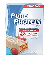 You will Receive (12) Pure Protein bars, Strawberry Greek yogurt, 1.76 oz Delicious & Gluten Free: Pure Protein bars feature the combination of high quality protein and great taste. This delicious, Gluten Free, chewy Chocolate Chip bar has 20 grams o...