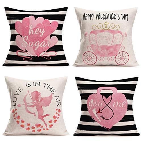 Fukeen Juego de 4 fundas de almohada para el día de San Valentín de 60 x 60 cm, diseño de rayas, color negro y blanco con flecha de Cupido, rosa corazón You & Me Sweet Cotes