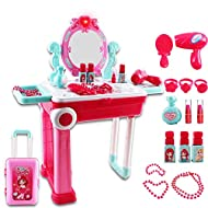 deAO 2-in-1 Portable Vanity Dressing Table and Convertible Suitcase Role Play Set with Accessories I...