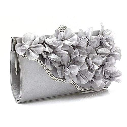 Sac À Main Lady Satin Clutch Bag Flower Evening Party Wedding Purse Chain Shoulder Handbag Silver