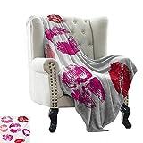 Manta de verano besos, color rosa y rojo pintalabios marcas belleza deseo amor San Valentín Smooch,...