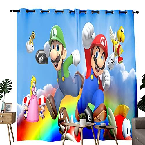 Cortinas para puerta Super Mario Bros. Partner In The Comic Rainbow oscurecimiento de habitación para dormitorio, sala de estar, comedor, ventana, 2 paneles, juego de 42 pulgadas × 54 pulgadas