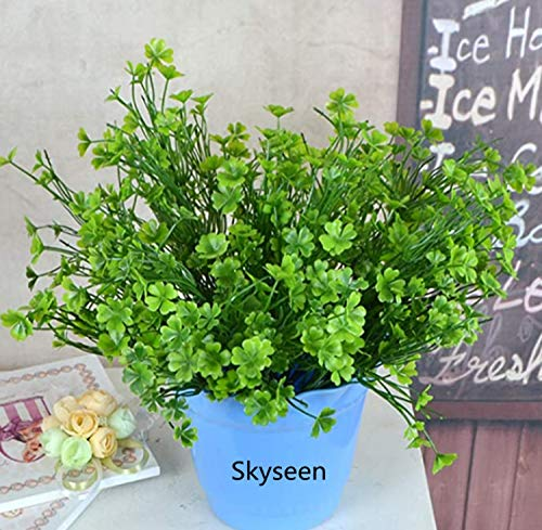 Skyseen 4PCS Artificial Four Leaf Clover Fake Plant for Home Decoration